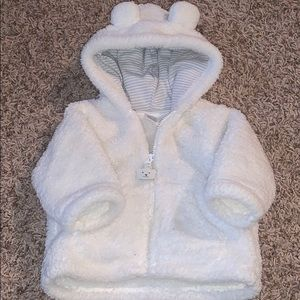 Carter's white fur zip up jacket